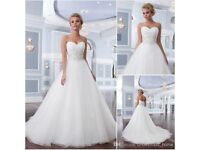 Lillian West 6303 size 6 strapless A-line/ballgown Wedding Dress w/ chapel train