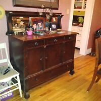 Hutch- Cabinet with mirror & 1 Chair