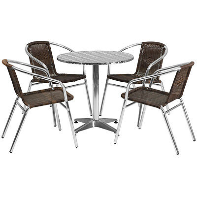 27.5 Round Aluminum Indoor-outdoor Restaurant Table With 4 Brown Rattan Chairs
