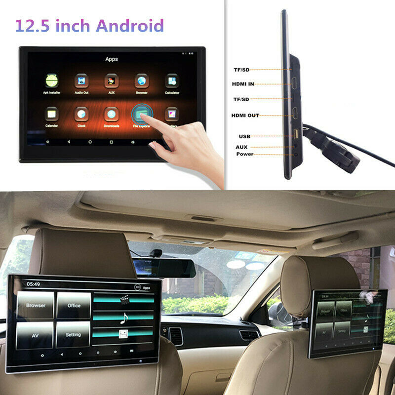 """12.5"""" Android Headrest Monitor WIFI Car Player Bluetooth Rear Seat Entertainment"""