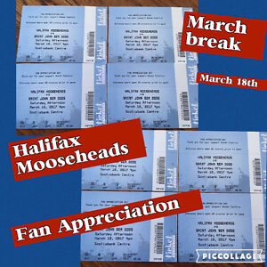 Mooseheads tickets-Fan appreciation game,  March 18th 4:00pm