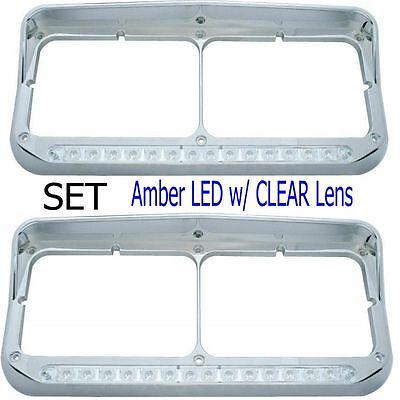 Peterbilt Freightliner Kenworth - LED Dual Headlight Bezel w/ Visor (SET)