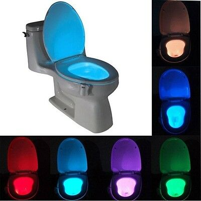 8 Colors Human Motion Sensor Automatic Seats LED Light Toilet Bowl Bathroom Lamp