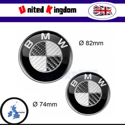 82mm+74mm Carbon Black Bonnet Boot Badges For BMW 1 Series E81 E82 E87 E88 F20