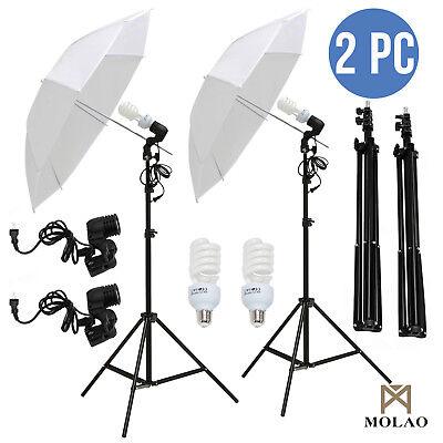 "2x33"" Photo Video Studio Umbrella Reflector Photography Stand Lighting Kit White"