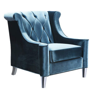 New Barrister Chair in Blue Velvet with Crystal Buttons $1500