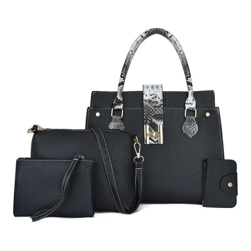 4PCS Women's Bag Set Fashion PU Leather Ladies Handbag Shoulder Bag Wallet Bags Clothing, Shoes & Accessories
