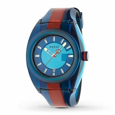 New Gucci Sync XXL YA137112 Two-Tone Rubber Band Blue Dial Unisex Watch