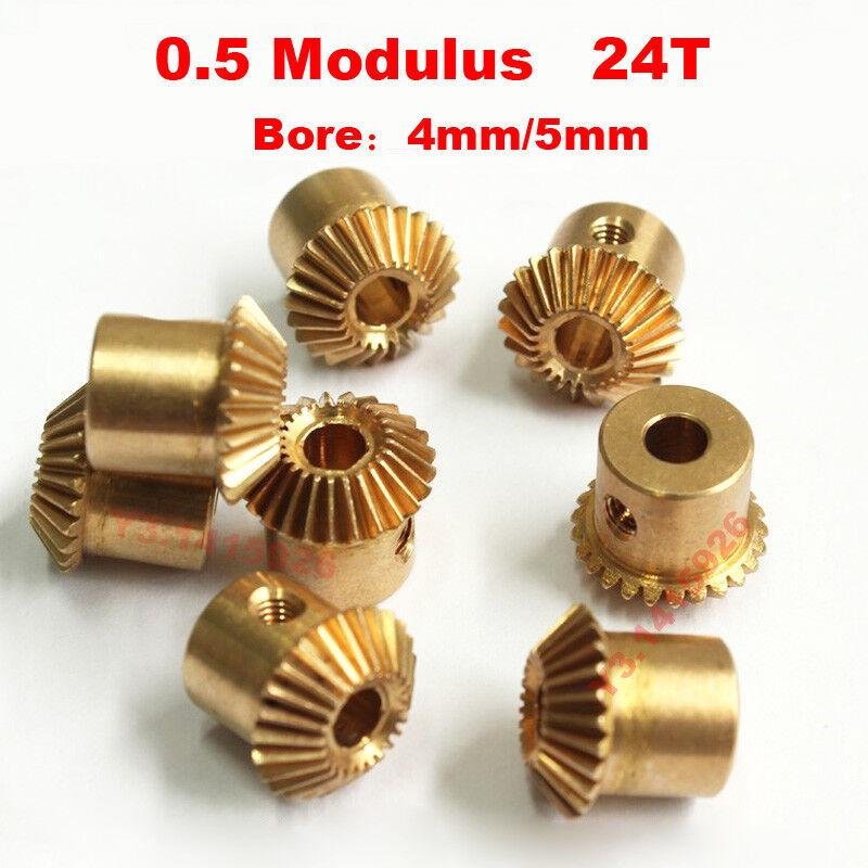 0.5Modulus 24 Teeth Bore 4mm/5mm Brass Umbrella Tooth 90° 1:1 Pairing Bevel Gear
