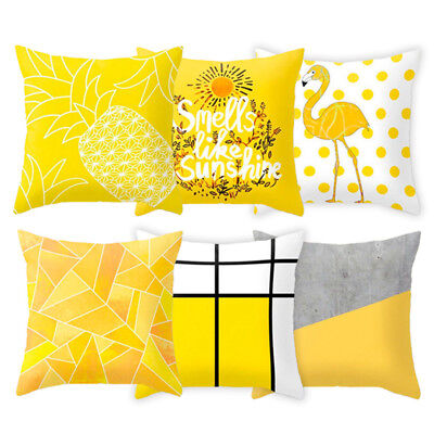 18'' Yellow Throw Decorative Pillow Cases Polyester Sofa Solid Cushion Cover](Yellow Pillow)