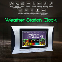 LED Digital Alarm Clock Snooze Calendar Thermometer Weather Colorful Display