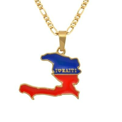 I LOVE HAITI Map Flag Country Pendant Necklace Ayiti Jewelry Maps Gold Women