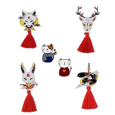 Funny Japanese Harajuku Chinese Kimono Couple Cat Brooch Enamel Pin Lovely Badge