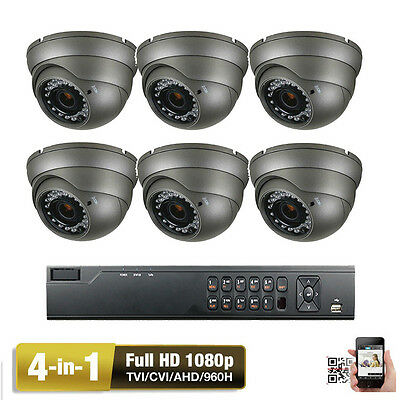 8CH HDTVI DVR 1080P (6) 4-in-1 AHD 2.6MP OSD C6 Outdoor Security Camera System