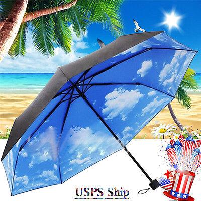 The Super Anti-uv Sun Protection Parasols Rain Umbrella Blue Sky 3 Folding