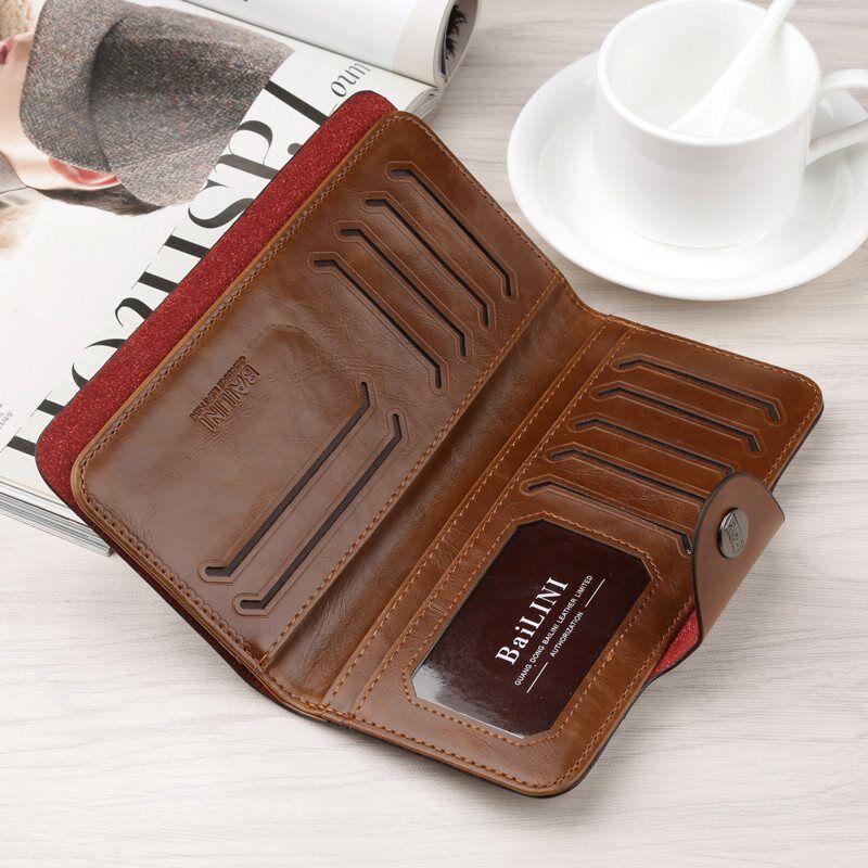 Men's Leather Wallet Bifold ID Card Holder Checkbook Long Clutch Billfold Purse 3