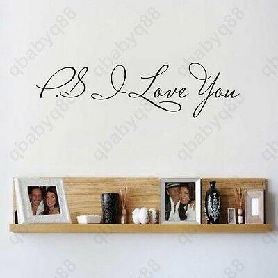 Home Decoration - PS I love you Wall Quotes decal Removable stickers decor Vinyl home art-small