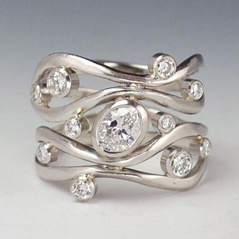 Jewellery - Elegant Women 925 Silver Wedding Rings Jewelry White Sapphire Rings Size 6-10