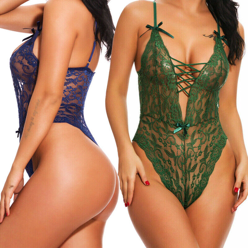 Sexy Lingerie for Women One Piece Lace Babydoll Mesh Bandage Teddy Bodysuit US Clothing, Shoes & Accessories