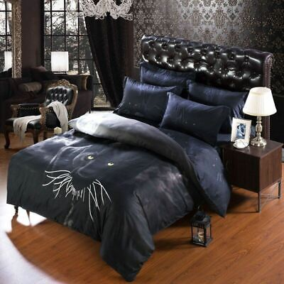 King / California King Size Duvet Cover Bedding Set In Exotic 3d Black And
