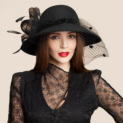 Black Women Wool Felt Floral Veil Netting Feather Wide Brim Derby Party Hat A322 - Black Felt Derby Hat