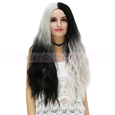 Black and Gray Hair Halloween Cosplay Wigs Long Wavy Colored Ombre Synthetic - Color Hair Gray Halloween