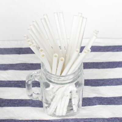Disposable White Paper Straws Biodegradable Paper Drinking for Christmas Party - White Straws