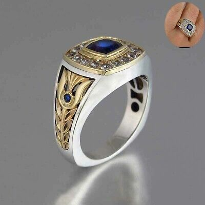Tone Men/women Vintage Two Rings for Size6-10 Ring Sapphire 925 Silver Blue Blue Sapphire Two Tone Ring