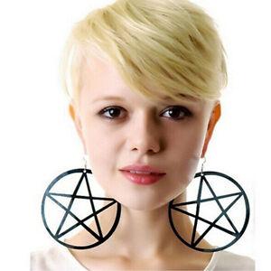 9CM Punk Large Pentagram Earrings Large Hoop Pentacle Gothic Ear Stud Hot Sale