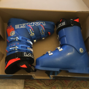 Lange alpine ski racing boots.
