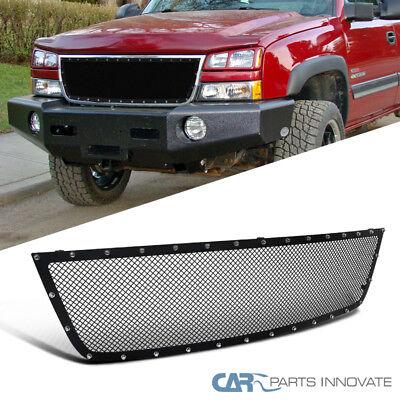 05-07 Chevy Silverado 1500 2500HD 3500 Upper Mesh Rivet Black S/S Grille Insert