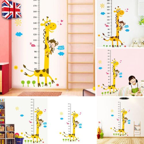 Home Decoration - Giraffe Wall Sticker Decal Removable Baby Kids Child Height Chart Measure Decor