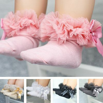 Newborn Baby Lace Princess Bowknot Socks Infant Ruffled Knitting Short Socks  ()