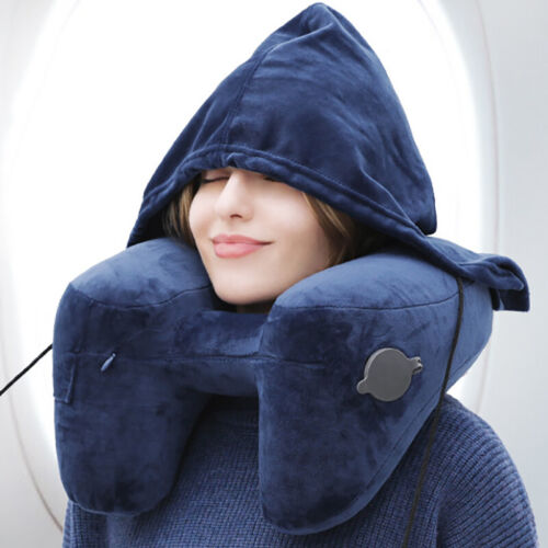 Inflatable Hooded Travel Pillow Head Neck Support Rest Cushi