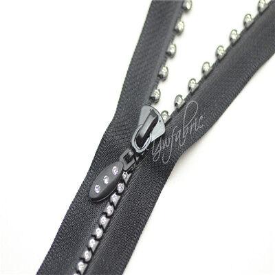 CLEAR Rhinestone BLACK Zipper Open end  Clothing Western Shirt  Jacket Sewing