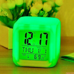 7 Color LED Change Digital Glowing Alarm Clock Night Light for Bedroom Child HOT