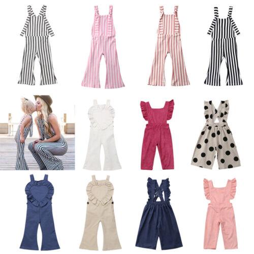 US Fashion Toddler Baby Girls Stripes Romper Bib Pants Overa