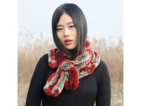 DAYMISFURRY--Knitted Rex Rabbit Scarf In Red