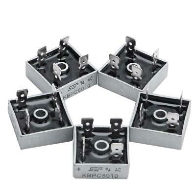 5 X Kbpc5010 1000v 50a Metal Case 4 Pin Single Phase Diode Bridge Rectifier