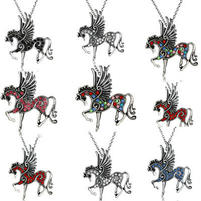 New Flying Horse - Flying Horse Pendant Silver Chain Necklace Pegasus Charm Crystal Gifts Women Men