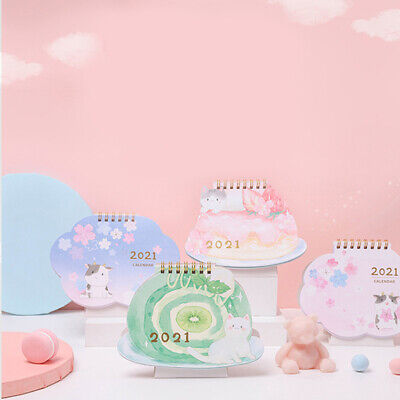 2021 Cat And Cherry Blossom Desk Calendar Diy Calendar Daily Schedule Plan W4eyr