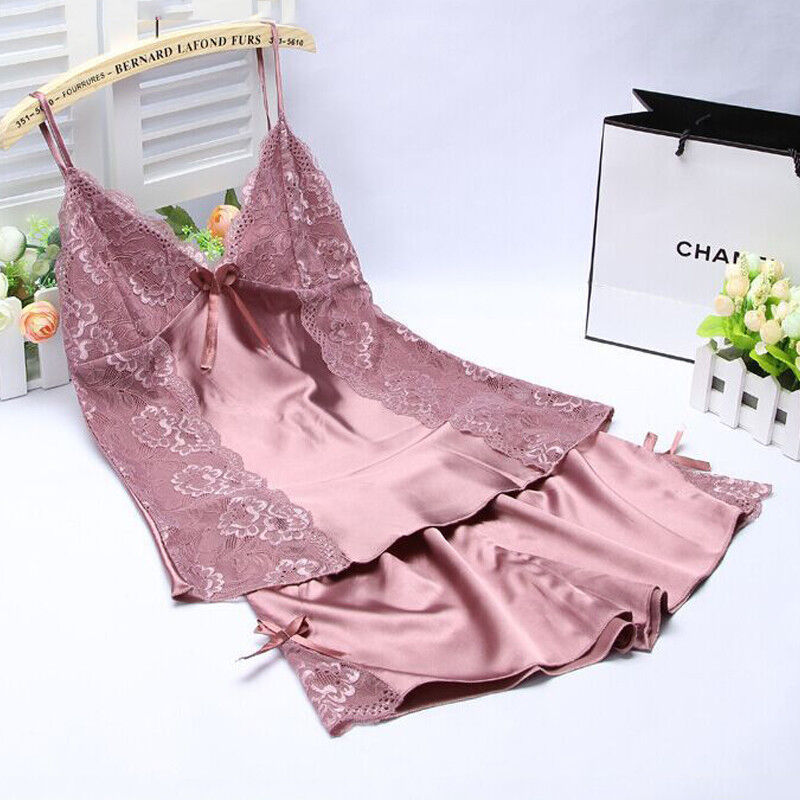 08583ba6f Details about Women Sexy Lingerie Silk Lace Robe Dress Babydoll Sleepwear  Camisole Short Set