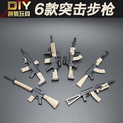 6pc Assembly 16 Assault Rifle M16 ACR M4 AK47 AK74 DIY AKM Weapon Gun Model Toy