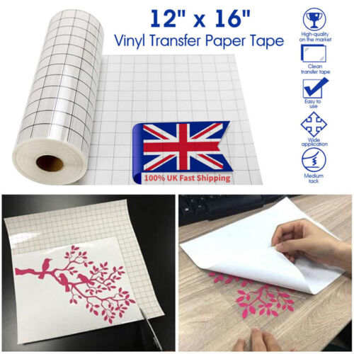Vinyl Transfer Paper Tape Roll Cricut Adhesive 12 x 60 inch Clear Alignment Grid