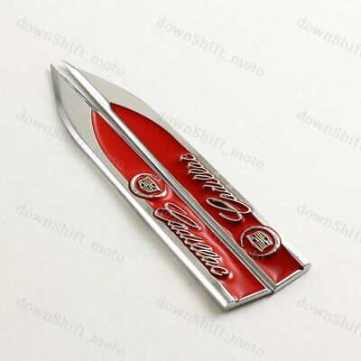 Metal Emblem Car Trunk Side Wing Fender Decal Badge Sticker for CADILLAC 2pc Red