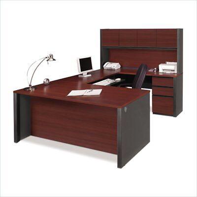 Double Pedestal U-shape Desk In Bordeaux