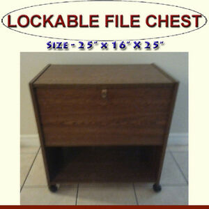 LOCKABLE FILE CHEST - LEGAL FILE FOLDERS INCLUDED