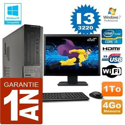 PC DELL 3010 DT Core I3-3220 Ram 4Go Disque 1 To Wifi W7 Ecran 22