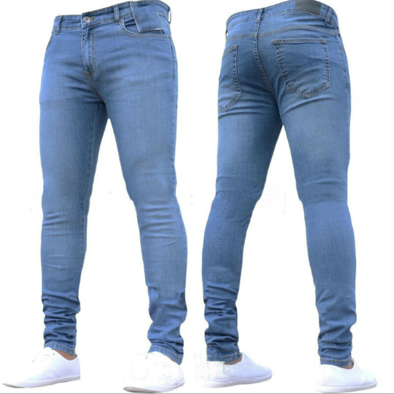 Men Skinny Stretch Jeans Casual Denim Pants Slim Fitness Work Trousers Bottoms Clothing, Shoes & Accessories