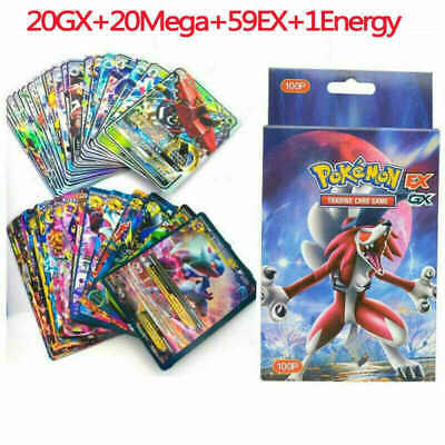 Pokemon Card 100Pcs 20GX+20Mega+59EX+1Energy Holo Flash Trading Card Mixed USA